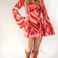 Psychedelic Bell Sleeved Mod Mini Dress   Womens Small S XS Long Sleeved Short Gogo Dress   Orange Pink Red Bright 1970s Retro Disco Costume