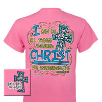 Girlie Girl Originals Philippians 4:13 # 2 Zebra Chevron Cross Christian Bright T Shirt