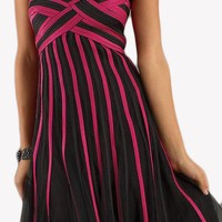 CLEARANCE - Short Black Fuchsia Sweet Sixteen Knee Length Dress Two Tone (Size Medium)