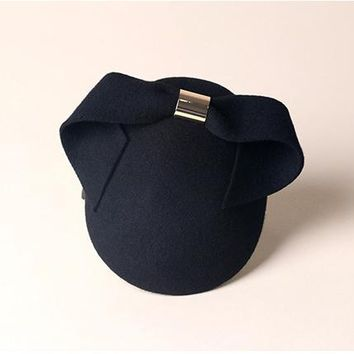 Ladies Fascinator Black Bowknot With Metal Buckle Hats