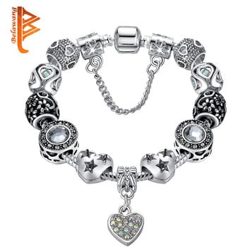 Valentine's Gift 925 Unique Silver Jewelry Heart Bracelet Bangle European Crystal Charms Beads Bracelet For Women PS3492
