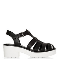 Monochrome Caged Chunky Block Heel Sandals
