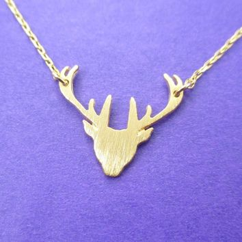 Stag Deer Doe Silhouette Shaped Pendant Necklace in Gold | Animal Jewelry