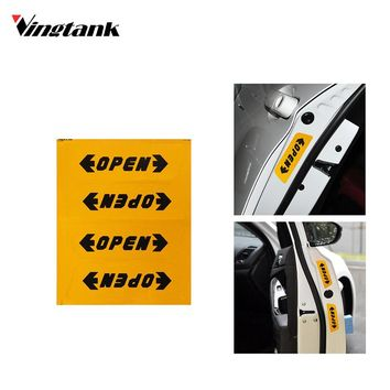 4pcs Reflective Automotive Interior Warning mark Stickers CarStyling Open Sticker Door Open Safety Auto Decor