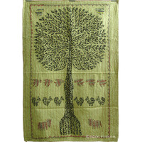 Vintage Multicolor Patchwork Tree Of Life Tapestry Wall Hanging Art