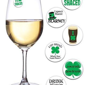 St Patricks Day Decorations for Your Wine Glass or Beer Mug Set of 6 Magnetic Wine Charms Fun for a Parade Pub Crawl Party Favors