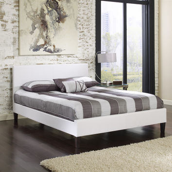 Queen size White Faux Leather Platform Bed Frame with Headboard