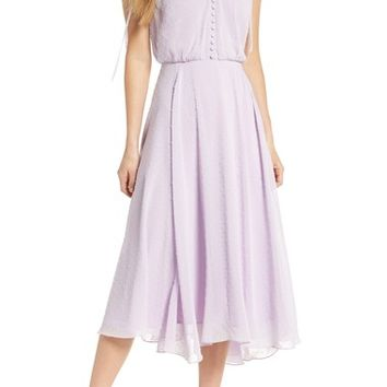 Gal Meets Glam Collection Clip Dot Chiffon Midi Dress | Nordstrom