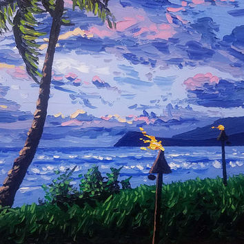 Original Palette Knife Painting by Ryan Kimba, 16x20 Oil Painting on Canvas, Seascape, Beach Art, Impressionistic, Tropical Hawaiian Sunset