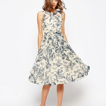 ASOS WEDDING Midi Dress With Rouche Panel Detail In Print at asos.com