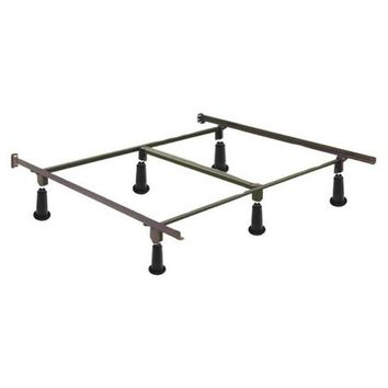 Queen Metal Bed Frame with Headboard Brackets and High Rise Glides