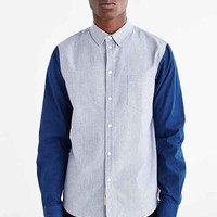 Native Youth Contrast Sleeve Oxford Button-Down Shirt- Navy