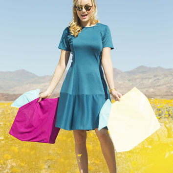 Indigo Color Block Ponte Swing Dress Blue