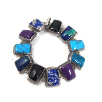 Taxco Sterling Silver Gemstone Bracelet, Mexico Sterling TF-34 Link Bangle, Southwestern Multi Gemstone Inlay, Handmade Mexican Jewelry 63g