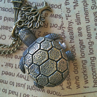 Turtle Pocket Watch Necklace by Victorianstudio on Etsy