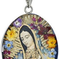 Sterling Silver Virgin Mary of Guadalupe Pressed Flower Pendant Necklace, 18""