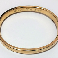 Ballou 12k Gold Filled Hinged Bangle Bracelet Signed Engraved 1956 Mid Century Style, Classic Timeless Jewelry 318