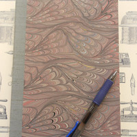 Hand-made blank book with marbled cover &1846 antique engraving: Floating Words