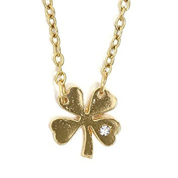 Four Leaf Clover Shamrock Necklace Gold Tone Good Luck Crystal Charm Pendant NT14 Fashion Jewelry