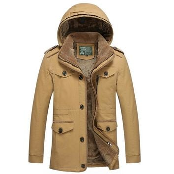 Men's Casual Field Coat Fleece Lined Jacket Hooded Winter Coat Outerwear