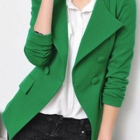 Green Lapel Long Sleeve Suit with Shoulder Pads