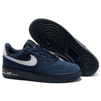 NIKE Women Men Running Sport Casual Shoes Air force low tops Blue white