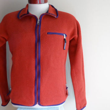 vintage 90's Patagonia burnt orange rust brick red purple stripe piping full zip up fleece jacket men women unisex small made in usa
