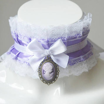 Kitten play collar - Noble Liliann - ddlg little satin princess choker with cameo pendant - kawaii cute fairy kei pastel purple petplay gear