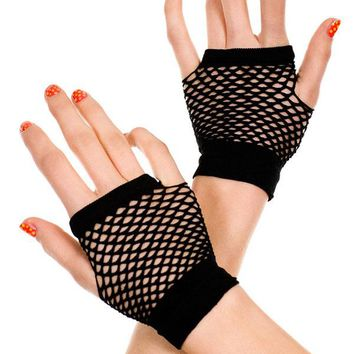 Fingerless 2 Colors Fishnet Short Gloves LC73121