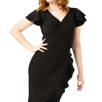 Black 50s Flutter Sleeves Wrap Ruffled Vintage Dress