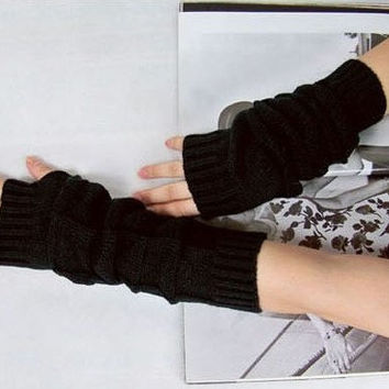 3 color long Fingerless Gloves, Merino Wool Mittens, Handwarmers, Arm warmers, pure wool luxury yarn, Hand Knitted, fashion style-Gl1