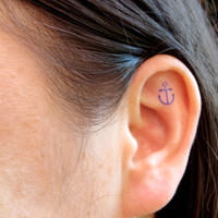 Anchor Ear Tattoo Temporary Tattoo - Kate Moss - Lady Gaga -