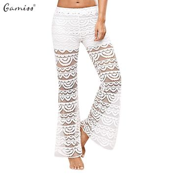 Gamiss 2017 Sexy Side Split Women Lace Pants Summer Casual See-Through Beach Long Boho Pants Female Mid Elastic Waist Trousers