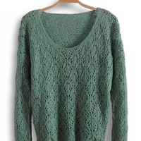 Round Neck Long Sleeve Green Sweater$39.00
