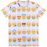 White 3D Emoji Print Short Sleeve Graphic T-shirt