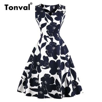 Tonval Vintage Navy Flower Rockabilly A Line Dress Women V Neck Casual Cotton Summer Dress Floral Retro Dresses
