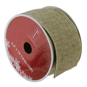 "Faded Green and Brown Burlap Wired Christmas Craft Ribbon 2.5"" x 10 Yards"