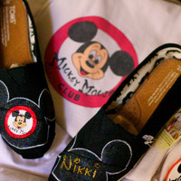 Limited Edition Vintage Mickey Mouse Club Ears Inspired artwork  name in gold Custom painted Disney TOMS or Vans Artwork and Shoes included