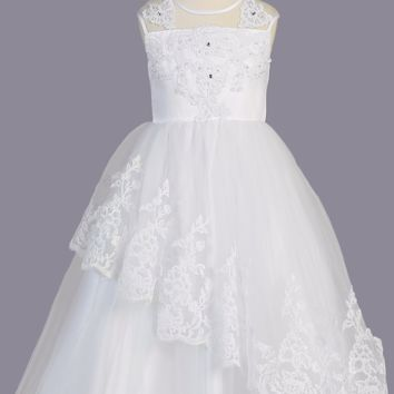 Girls Asymmetrical Tulle Communion Dress w. Lacy Appliques 6-14