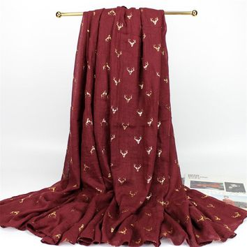 190*75cm/190*150cm Women Deer Pattern Gold Foiling Scarf Viscose Cotton Reindeer Foiled Shawl For X-MAS Christmas Gifts YG275