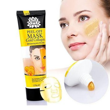 women 24k gold collagen peel off facial mask whitening anti wrinkle face masks skin care face lifting firming moisturize 4 22 fl oz  number 1