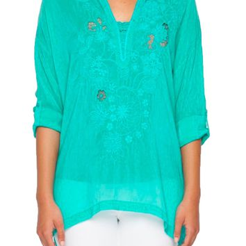 Johnny Was Women's Lusana Tropical Embroidered Blouse