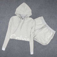 "Fashion ""Calvin Klein"" Print Hoodie Shirt Top Shorts Set Two-Piece"