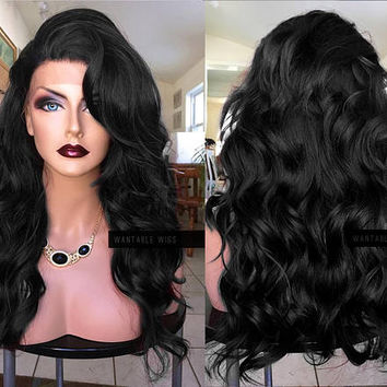 Black Lace Front Wig // Curly Lace Wigs // Long Retro Black Wig with Side Bang for Chemo, Drag, Cosplay, Everyday // #BH12