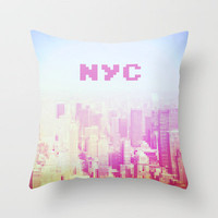 NYC Invaders Throw Pillow by Sabine Doberer | Society6