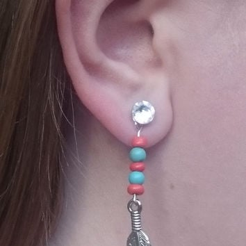 Pewter Feather Earring Charms with Nugget Marble Orange Beads and Round Dyed Howlite Turquoise Beads, Swarovski Stud Earring Not Included
