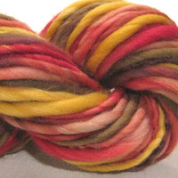 handspun yarn Cornucopia thick and thin bulky singles merino yarn, 60 yards, hand dyed merino wool top