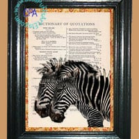 A Pair of African Zebras - - Vintage Dictionary Book Page Art-Upcycled Page Art,Wall Art,Collage Art, Zebras, Black & White, African Art