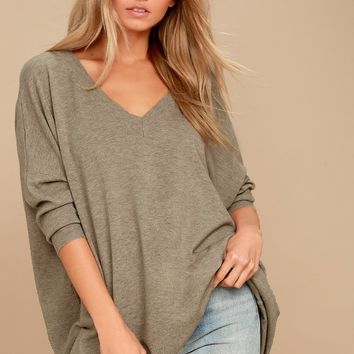 Ticket to Cozy Light Brown Oversized Sweater