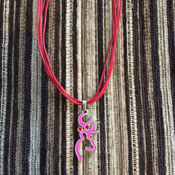 Pink and red Browning Deer necklace